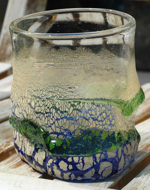 土紋でこぼこロックグラス青 ¥4.500(税抜)