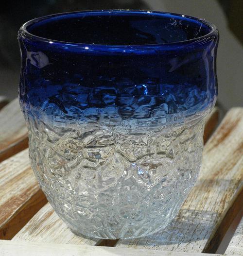 アイスカット宙吹ロックグラス青  ¥3.500(税抜)